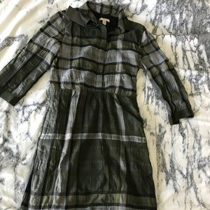 Burberry Brit Olive Signature plaid shirt dress